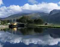 View across the Caledonian Canal to Ben Nevis and Fort William, Corpach, Highland region, Scotland, United Kingdom, Europe