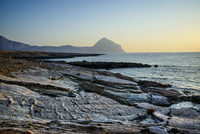 Italy, Sicily, Trapani district, San Vito Lo Capo, Macari beach, Cofano mountain in the background