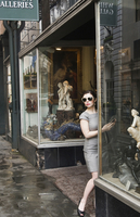 A young woman antique shopping on Royal Street in New Orleans, Louisiana, USA