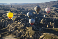 Turkey, Central Anatolia, Cappadocia, Goreme, Hot Air Balloon Tours over Valley