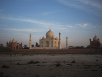 Taj Mahal from the Opposite Embankment of Yamuna River at Dusk, Agra, India