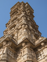 Low Angle View of Tower of Victory (Vijay Stambha), Chittorgarh Fort, Rajasthan, India