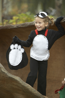 Girl in panda halloween costume