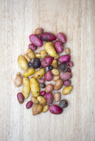 Variety of fresh, local, artisanal potatoes in variety of sizes and colors on wooden background, jeffersonville, georgia