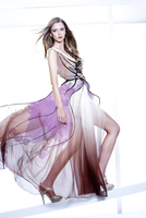 Young Woman Fashion Model Posing in Windblown Dress with Illustrated Embellisments