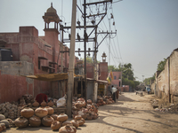 shops of earthenware vases near Bikaner Railway Junction, India