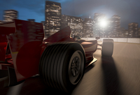 F1 racecar speeding on a track with a city background