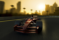 F1 racecar speeding in a track with a city background
