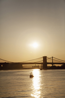 Sunrise on the East River and Lower Manhattan Bay with views of Brooklyn in New York City, Brooklyn, USA