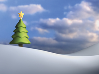 Illustration of Christmas tree against cloudy, blue sky, on snowy hill