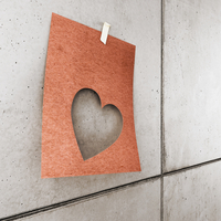 3d-illustraion of a heart shaped paper on concrete wall