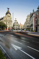 Europe, Spain, Comunidad de Madrid, Madrid, view of Gran Via with the Metropolis building, Grassy building and Telefonica buildi