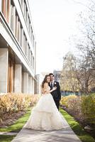 Bride and Groom posing in City Park on Wedding Day, Toronto, Ontario, Canada