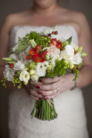 Close-up of Bride holding bridal bouquet on Wedding Day, Canada