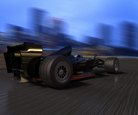 F1 race car speeding on track with a city background