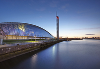Glasgow Tower and Glasgow Science Center (SECC) next to River Clyde at Dusk, Govan, Glasgow, Scotland