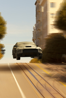 Illustration of car jumping over hills, San Francisco, California, USA