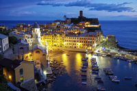 Aerial view of town of Vernazza and Doria Castle, Cinque Terre, La Spezia, Liguria, Italy
