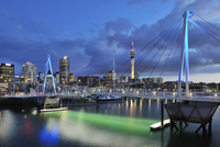 Waitemata Harbour with Wynyard Crossing at Dusk, Auckland, North Island, New Zealand