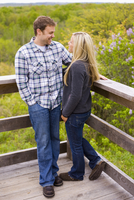 Portrait of Young Couple at Lookout, Scanlon Creek Conservation Area, Bradford, Ontario, Canada
