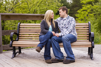 Young Couple on Park Bench, Scanlon Creek Conservation Area, Bradford, Ontario, Canada