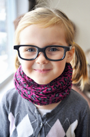 Portrait of Girl with Pigtails wearing Glasses and Scarf, Toronto, Ontario, Canada