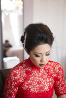 Portrait of Bride Getting Ready for Wedding