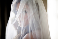 Close-up portrait of bride with wedding veil over face, Ontario, Canada