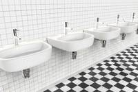 Illustration of a row of sinks in a public bathroom
