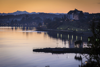 Scenic view of shoreline and city at sunset, Puerto Varas, Llanquihue Province, Patagonia, Chile