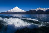 Close-up of backwash from boat in Lake Todos los Santos and Osorno Volcano, Parque Nacional Vicente Perez Rosales, Patagonia, Ch