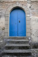 Blue Door, Old City of Acciaroli, Cilento, Salerno District, Campania, Italy