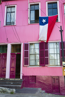 Chilean Flag Hanging from Window, Valparaiso, Chile