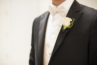 Close-up of Bridegroom in tuxedo with boutonniere, Canada