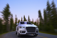 Digitally Generated Image of SUV in Motion, Mount Rainier National Park, Washington, USA
