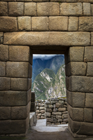 Close-up of stone walls and brick structures for doorways, Machu Picchu, Peru