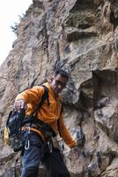 Mature Man Rock Climbing, Schriesheim, Baden-Wurttemberg, Germany