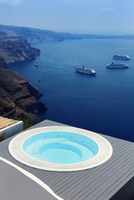 View South towards town of Fira with Cruise Ships at Anchor, Imerovigli, Santorini, Cyclades, Greek Islands, Greece