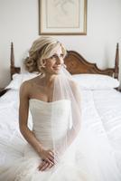 Portrait of Bride in Bedroom, Toronto, Ontario, Canada