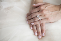 Close-up of Bride's Hand with Diamond Engagement Ring