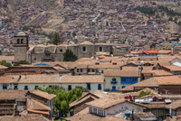 Overview of houses with tile rooftops, Cusco, Peru
