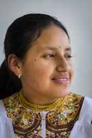 Close-up portrait of Ecuadorian woman at Hacienda Zuleta, Ecuador
