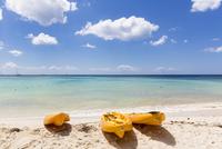 Orange Sea Kayaks on Beach by Ocean, Playa Bayahibe, La Altagracia Province, Dominican Republic