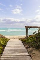 Wooden Boardwalk leading to Beach and Ocean, Cayo Coco, Ciego de Avila Province, Cuba