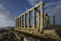 View of Temple of Poseidon at Sounion with Aegean Sea, Acropolis, Athens, Greece