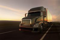 Illustration of big truck on a desert road at sunset, Atacama Desert, Chile