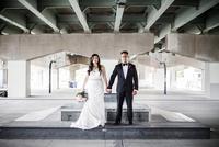 Portrait of Bride and Groom in Underpass, Toronto, Ontario, Canada