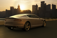 Illustration of luxury sports car in motion in front of Hong Kong skyline at sunset, China