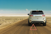 Illustration of conceptual image of car trouble in an isolated location, Atacama Desert, Chile