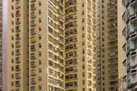 Close-up of pattern of windows in residential high-rise buildings, Hong Kong, China